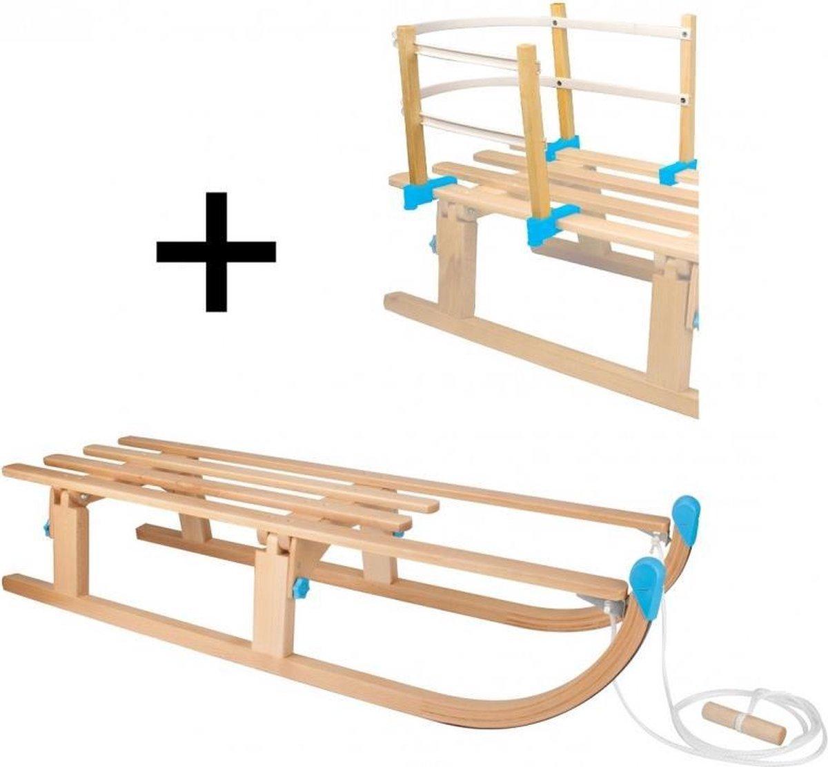 Slede hout opklapbaar 110 cm + rugleuning en touw - (houten slee) 0263