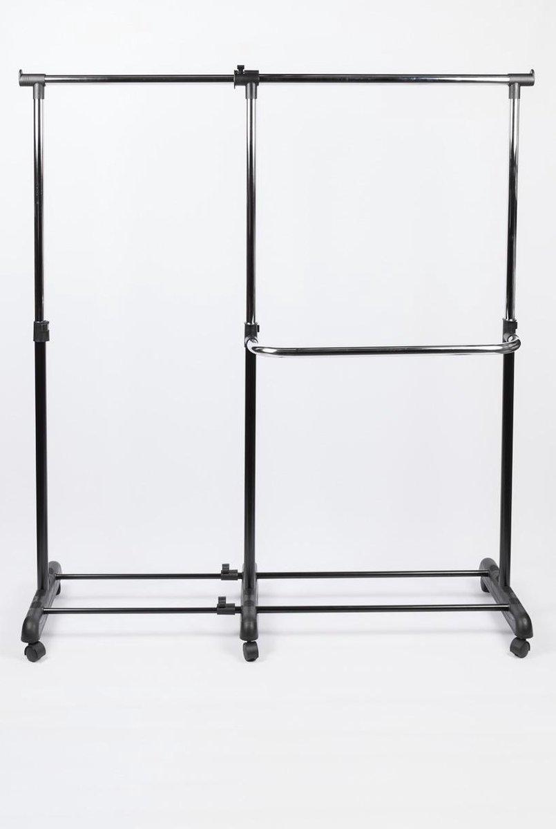 MaxxHome Kledingrek - verrijdbaar kledingrek - dubbel - 168cm - MaxxHome