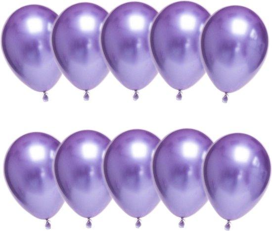 Luxe Chrome Ballonnen Paars 10 Stuks - Helium Chrome Metallic Ballonnenset Feestje Verjaardag Party