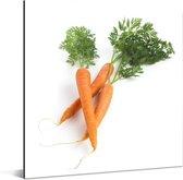 Een wortel met groene bladeren tegen een witte achtergrond Aluminium 50x50 cm - Foto print op Aluminium (metaal wanddecoratie)