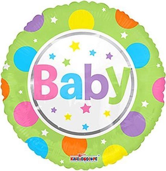 Folie ballon baby met een groene rand 46 cm groot
