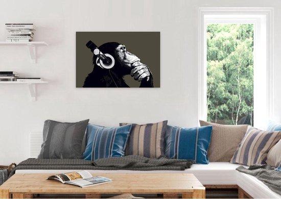 REINDERS Aap met koptelefoon - Schilderij - 90x60cm - Reinders