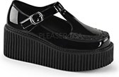 Creeper-214 with T-strap and buckle patent black - (EU 36 = US 6) - Demonia