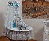 Rotan baby wiegje - Incl. beddengoedset, hemel met sluier, onderstel met wieltjes - 100% katoen - teddybeer grijs