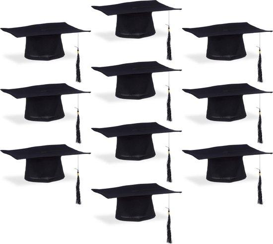 relaxdays 10 x afstudeerhoed met kwastje, Graduation Cap, afstudeer hoed, academische hoed