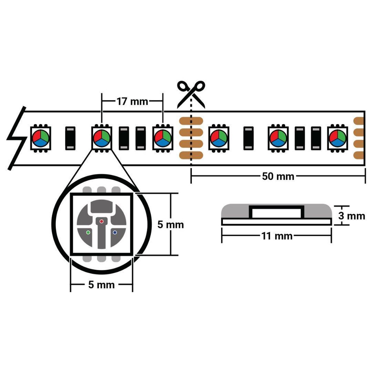 1 meter warm wit led strip - 60Leds/m - 12V