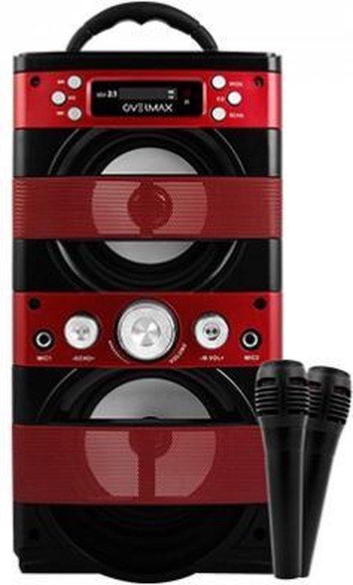 Overmax Portable Idol 2.1 Karaoke set met 2 microfoons, Bluetooth, FM, SD, USB