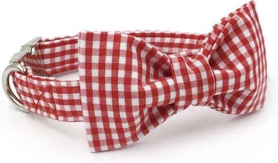 Halsband met strik rood geruit - hond - riem - hondenriem - ruitje - blokje - geblokt - trendy - lief - stoer - hondenmode