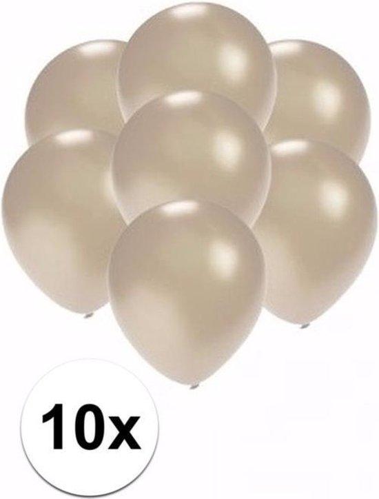 10x stuks kleine metallic zilveren ballonnen 13 cm - Feestartikelen/versieringen