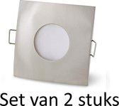 Philips badkamer inbouwspot | Extra warm wit | Zilver vierkant | Set van 2 stuks