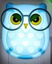 Uil - Uiltje LED nachtlamp - Nachtlampje Schemersensor - Babykamer - Kinderenkamer - Uil blauw met bril - TH Commerce 9604