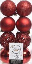 16x Kerst rode kunststof kerstballen 6 cm - Mix - Onbreekbare plastic kerstballen - Kerstboomversiering kerst rood