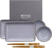 Tokyo Design Studio Kotobuki Sushi Servies - hoogwaardig porselein - 6-delig - 2-persoons