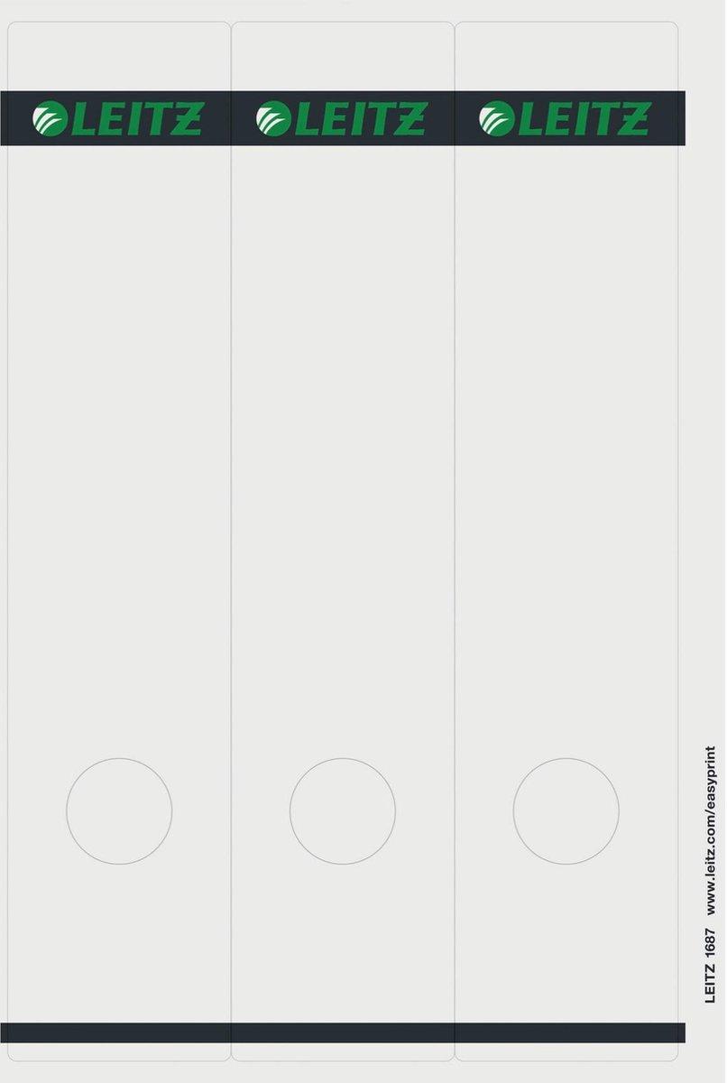 Leitz PC Printbare Rugetiketten voor Standaard Ordners - 75 stuks - Breed en lang - Grijs