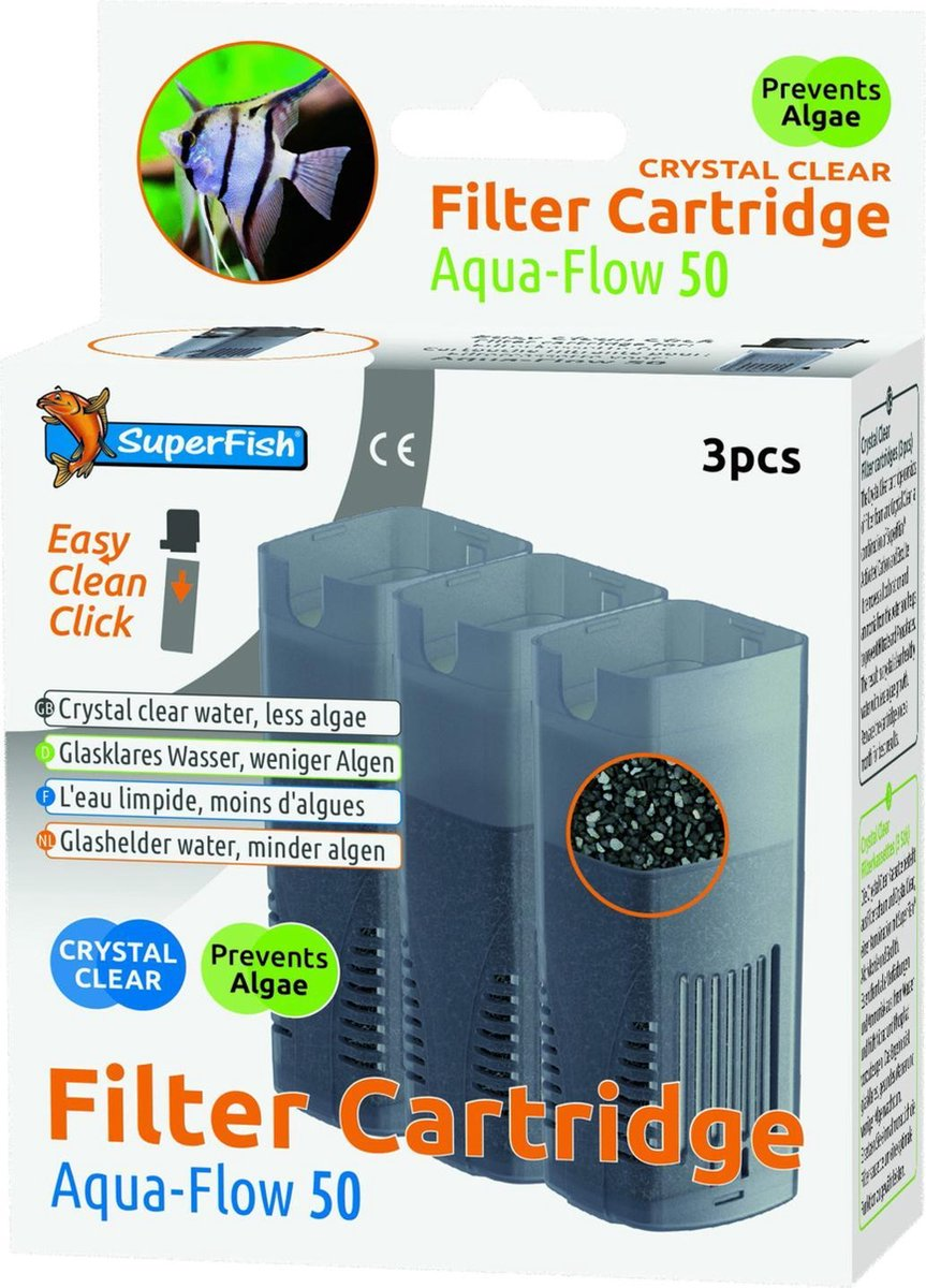 SuperFish AquaFlow 50 Crystal Clear Cartridge - Aquariumfilter - 3 stuks