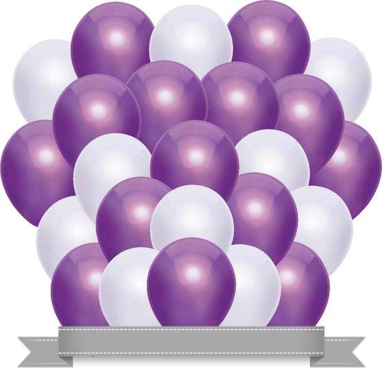 Ballonnen Set Metallic Paars / Wit (20ST)