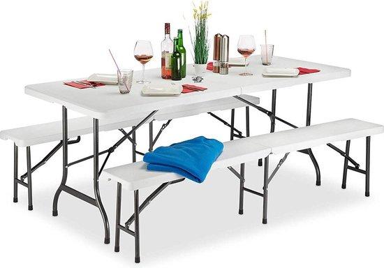 Maxx Biertafel met banken - Vouwbare tuintafel + 2 vouwbare zitbanken - wit