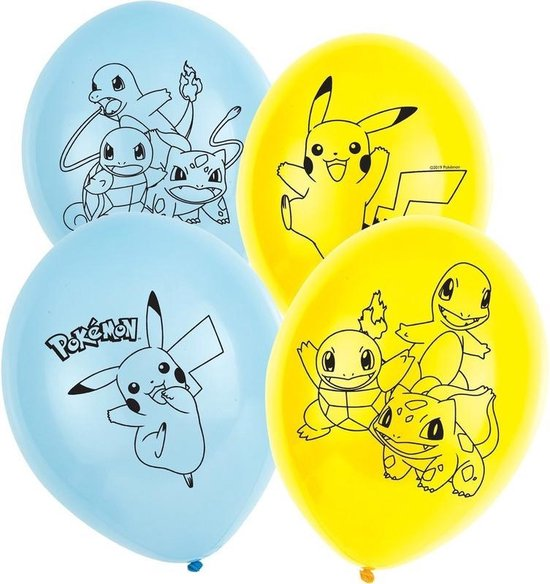 6x Pokemon ballonnen versiering voor een Pokemon themafeestje - thema feest ballon kinderfeestje/verjaardag