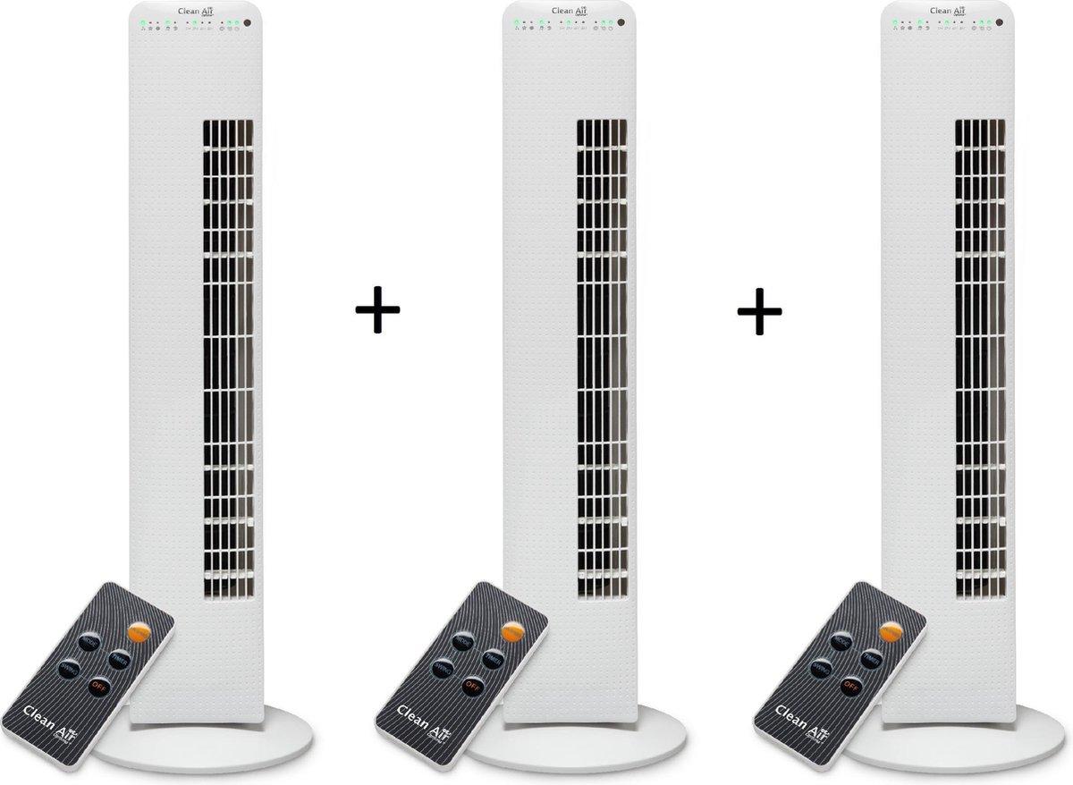 Clean Air Optima® 3 stuks CA-405 – Luxe Torenventilator – Ventilator met Ionisator