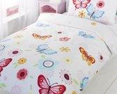 Peuter/ junior kinderdekbedovertrek gekleurde vlinders en bloemen