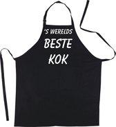 Mijncadeautje - Schort -  s'-Werelds beste KOK - Mooie - grappige - leuke Keukenschort - Zwart