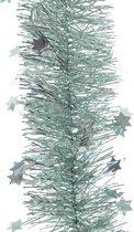 Kerstslinger sterren mintgroen 270 cm - Guirlande folie lametta - Mintgroene kerstboom versieringen