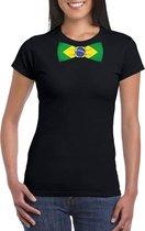 Zwart t-shirt met Brazilie vlag strikje dames S