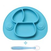 Placemat voor kinderen - bordje - baby servies - incl. lepel - 2 zuignappen - antislip - blauw
