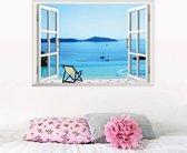 Premium Prachtige Muursticker Open Raam Landschap Zee Strand Vakantie Maat M – Muurdecoratie / Wanddecoratie