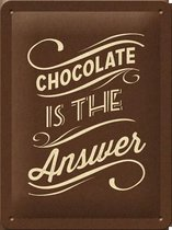 Chocolate is the Answer. Retro reclame wandbord, metaal
