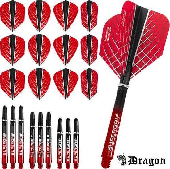 Dragon Darts – Harrows - Combi kit – Quantum-X – 3 sets darts shafts – 4 sets darts flights - Rood