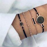 Set Armbanden Black Marble | 4 - delig | Goudkleurig | 18 cm