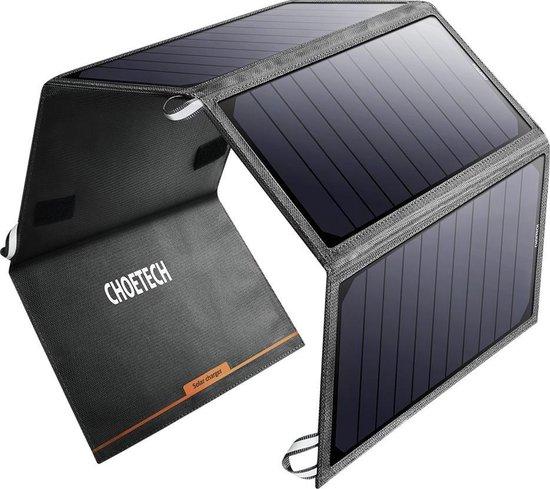 Choetech Uitvouwbare solar charger 4 panelen 2 USB poorten - Grijs