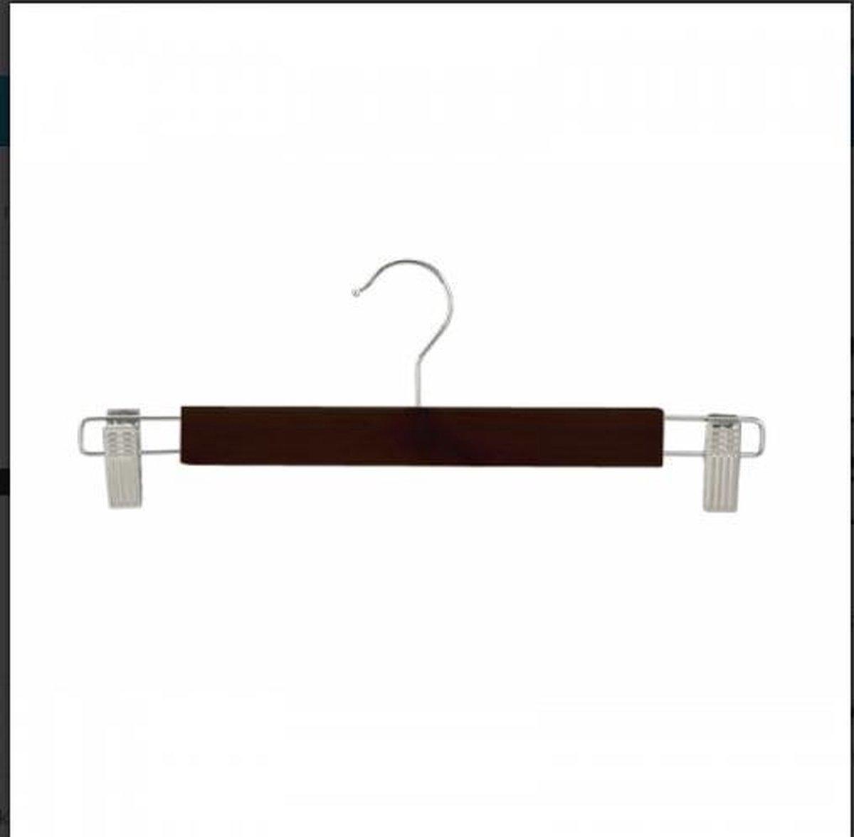 Set van 10 zwarte kledinghangers hout 34cm met knijpersklemmen
