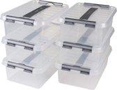 Sunware Q-Line Opbergbox - 4L - 6 Stuks - Transparant/Metaal