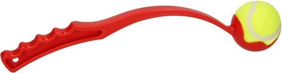 Benson - Ballenwerper met ergonomische handgreep - Inclusief tennisbal - 38 cm - Rood