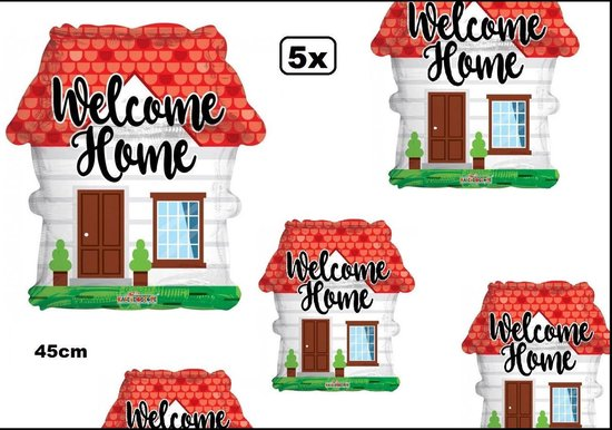5x Folie ballon Welcome home 45cm