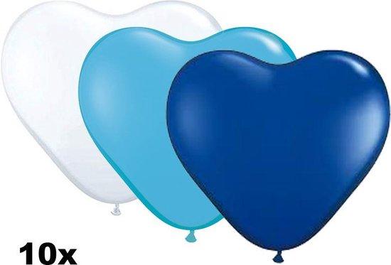 Hartjes ballonnen mix wit, lichtblauw en blauw, 10 stuks, 28 cm