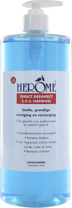Herome Direct Desinfect – 1000ml.- Desinfecterende handgel met 80% alcolhol – beschermt tegen bateriën en droogt de handen niet uit