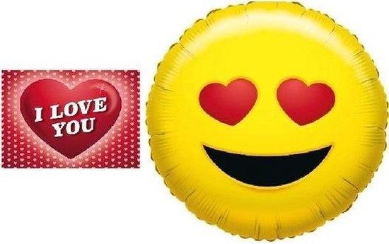 Folie ballon verliefde smiley 35 cm met valentijnskaart - Valentijnsdag cadeaus