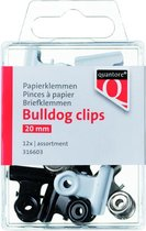 Mini Papierklem bulldog Quantore blister 20mm assorti - 12 stuks
