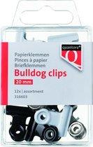 Mini Papierklem bulldog Quantore blister 20mm assorti - 12 stuks