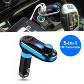 MMOBIEL 5 in 1 Bluetooth FM-transmitter – Carkit – Zwart Blauw – LED Display – Handsfree bellen