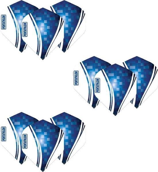 Pentathlon Wave - sterke flights - Blauw - Dragon darts - 3 Sets (9 stuks) - darts flights