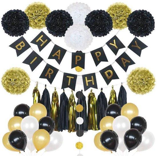 Happy birthday set - 33 Delig - Helium ballonnen - Slingers - Verjaardag - Feestje - Goud - Wit en Zwart