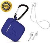 Afbeelding van 3 in 1 set! Hoesje voor Airpods siliconen case cover beschermhoes + strap + earhoox - royal blauw