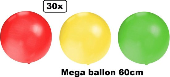 30x Mega Ballon 60 cm rood-geel-groen - Ballon carnaval festival feest party verjaardag landen helium lucht thema