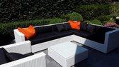 Loungeset Arbrini wit hoekbank 2.30x3m. met stoel en tafel