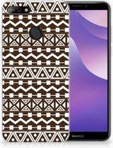 Huawei Y6 (2018) Uniek TPU Hoesje Aztec Brown