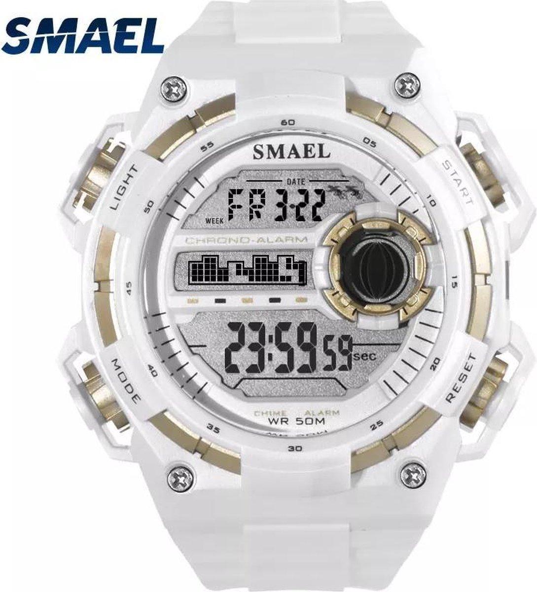 Smael Sport horloge Led Digital Waterdicht Wit 1438 - Smael
